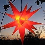 Mit LED Außenstern Stern rot mit gelben Spitzen Weihnachtsstern 55-60 cm Stern...