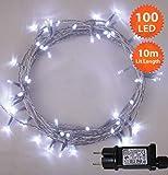 Lichterketten 100 LED warme weiße Helle Weibe Netzbetriebene