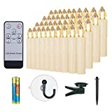 40er LED Kerzen mit Batterien Timer & Fernbedienung Dimmbar warmweiß...