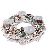 Mendler Adventskranz rund, Weihnachtsdeko Tischkranz, Holz Ø 35cm weiß-grau ~ ohne...