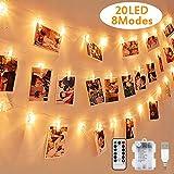LED Foto Lichterkette, Warmweiß, Nasharia 2.2 Meter/Lichterketten-8 Modi 20...