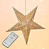 LED Holz Weihnachtsstern - Fensterdeko mit Fernbedienung - Deko Stern Hängelampe