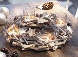 Adventskranz 'Glitzer' Sterne Tischkranz Teelichthalter Kerzenhalter Holz Natur Kranz