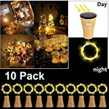 10 Pack LED Solar Wein Flasche Lichter, ALED LIGHT 1 Meter 10 Lichter Cork Shaped...