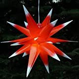 Guru-Shop 3D Außenstern, Weihnachtsstern, Faltstern Kaspar Rot-Weiß mit LED, Ø...