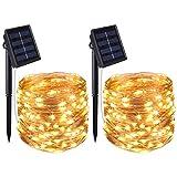 Cricar Solar Lichterkette, 100 LED Solar Lichterkette Weihnachten, Solar-Kupferdraht...