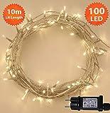 Weihnachts-Lichterketten 100 LED warme weiße Baum-Lichter Innen- und im...