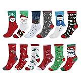 Vertvie 12 Paar Unisex Weihnachtssocken Christmas Socks Weihnachtsmotiv Weihnachten...