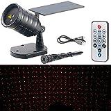 Lunartec LED Projektor: Solar-Laser-Projektor mit Akku, Sternenregen-Lichteffekt,...