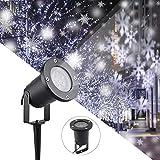 LED Projektor Lichter,LED Projektionslampe Weiß Snowflake Landschaft Weihnachts...