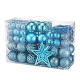 Yorbay Weihnachtskugeln Christbaumkugeln Set inklusive Perlenkette und Baumspitze...