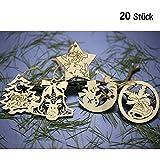 DAHI Weihnachtsanhänger Holzanhänger 20 Stück Christbaumschmuck aus Holz -...