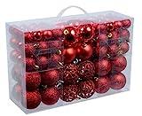 100 Weihnachtskugeln Rot glänzend glitzernd matt Christbaumschmuck bis Ø 6 cm...
