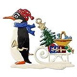 Pinguin mit Weihnachtsschlitten von Hand Bemalt aus Zinn, Christbaumschmuck,...