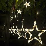 Salcar Lichterkette mit LED Kugel 12 Sterne 138 Leuchtioden Lichtervorhang...