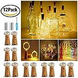 【12 Stück】Nasharia 20 LEDs 2M Flaschen Licht Warmweiß, Lichterkette für...