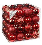 64x Kunststoff Christbaumkugeln 6cm Kugel Box Glanz Glitzer Matt Dekor Inge Glas,...