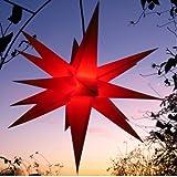 Außenstern rot - beleuchteter Stern 55-60 cm Weihnachtsstern  Leuchtstern Faltstern,...