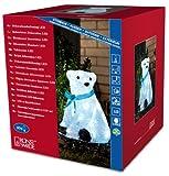 Konstsmide 6123-203 LED Acryl Eisbär sitzend mit blauer Schleife und 40 kalt weißen...