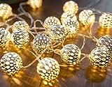 CozyHome LED Lichterkette marokkanische Kugeln Silber | 6,8 Meter Gesamtlänge | 20...