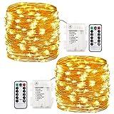 GDEALER 2 Stück Lichterkette Außen 6M 60 LEDs Lichterkette mit Batterie 8 Modi...