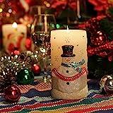 GiveU Weihnachtskerze Schneemann 3D flammenlose bewegliche Echtwachs...
