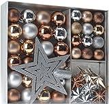 Weihnachtsbaumschmuck Set - 45 teilig in Metalltönen (Kupfer, Silber, Gold etc.) -...