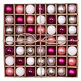 Valery Madelyn Weihnachtskugeln Set 3CM 49 Stücke Rosa Silber Glänzend Glitzernd...