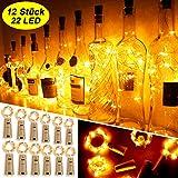 Mr.Twinklelight Flaschen-Licht, 12 Stück 22 LED 2.2M Flaschenlichter Warmweiß...