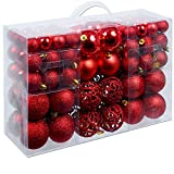 Christmas Gifts 100 x Weihnachtskugeln, Plastik, Red, 12.1 x 35.7 x 23.4 cm