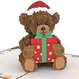 PaperCrush® Pop-Up Karte Weihnachten Teddybär - Süße 3D Weihnachtskarte mit Teddy...