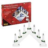 Idena 8582067 - Adventsleuchter aus weiß lackiertem Holz mit 7 warmweißen...