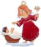 Zinngeschenke Engel an Krippe handbemalt aus Zinn (HxB) 6,5 x 6,0 cm...