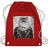 Weihnachten & Silvester - Ugly Christmas Sweater Katze Vintage Effekt - Unisize - Rot...