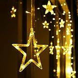 LED Lichterkette 12 Sterne, Lichtervorhang weihnachtslichter Sternenvorhang 138 LEDs...