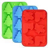 FineGood 3 Pack Silikon Formen, Formen von Weihnachtsbäumen, Socken und Glocken,...