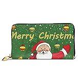 DJNGN Damen Geldbörse Weihnachten Weihnachtsmann Leder Zip Around Geldbörse Clutch...