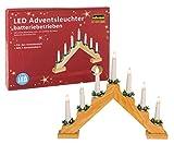 Idena 8582092 - Adventsleuchter aus naturfarbenem Holz mit 7 LED Kerzenlichtern,...