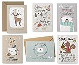 KuschelICH 12er Weihnachtskarten-Set - 8 Postkarten, 4 Klappkarten mit Umschlag -...