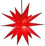 Weihnachtsstern 42cm Rot LED Batterie Adventsstern Außenstern 3D außen Stern...