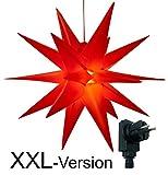 XXL Ø 100 cm 3D Leuchtstern mit warm-weißer LED Beleuchtung und Timer / für Innen...