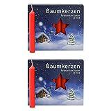 OLShop AG 2er Pack Baumkerzen rot ca. 13 x 105 mm (2 x 20 Stück) Weihnachtskerzen,...