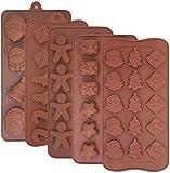 Weihnachten Silikon-Schokoladenformen, 5 Stück Silikon Backformen für...
