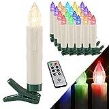KESSER® Weihnachtsbaumkerzen 20 LED Inkl. Batterien Kabellos – Mehrfarbig - mit...