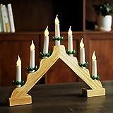 SALCAR LED Adventsleuchter mit 7 Kerzen, gelber Kerzenbogen aus Holz, 7 LED Lichter,...