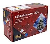 Idena 8325066 - LED Lichterkette mit 200 LED in warm weiß, mit 8 Stunden Timer...
