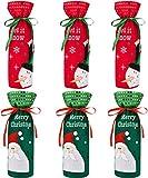 LYTIVAGEN 6 Stück Weihnachten Weinflasche Taschen Weinflasche Abdeckung Weihnachten...