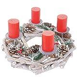 Mendler Adventskranz rund, Weihnachtsdeko Tischkranz, Holz Ø 35cm weiß-grau - mit...