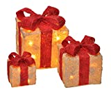 LED Deko Geschenk Boxen - 3er Set inkl. Timer Funktion - Weihnachts Dekoration...