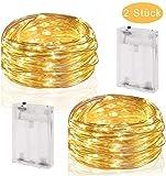 CDWERD 2 x 50er LED Lichterkette 10.4M Kupferdraht Micro Lichterkette Batteriebetrieb...